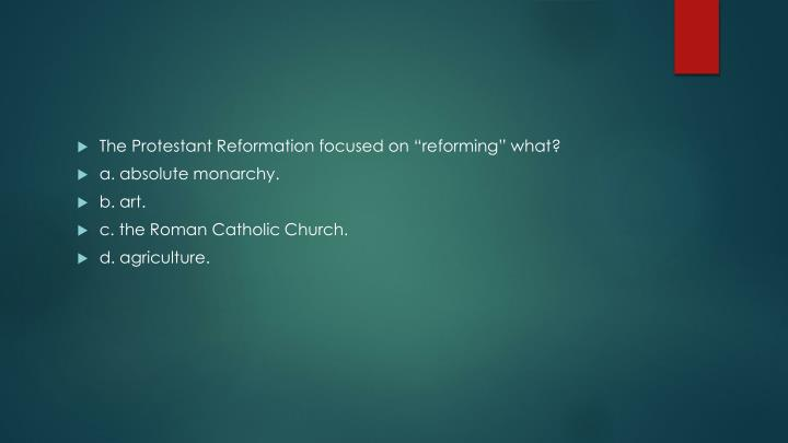 "The Protestant Reformation focused on ""reforming"" what?"