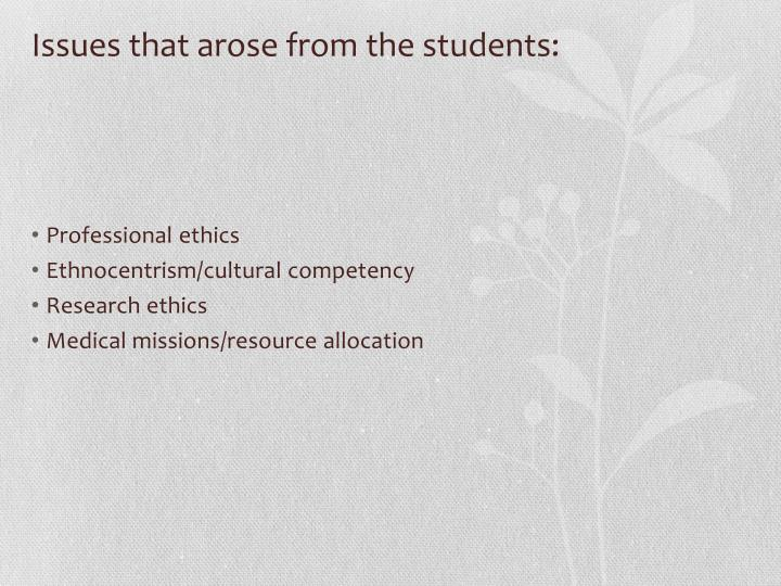 Issues that arose from the students:
