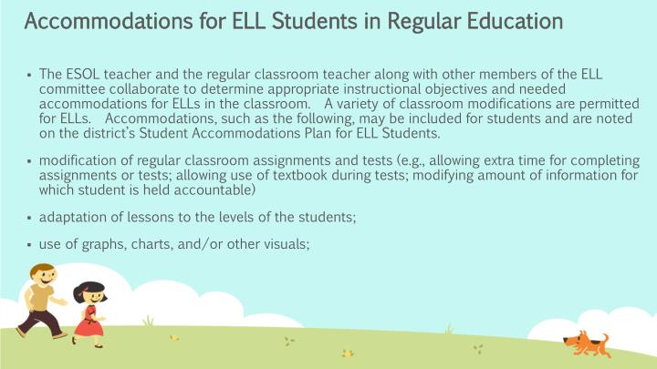 Accommodations for ELL Students in Regular Education