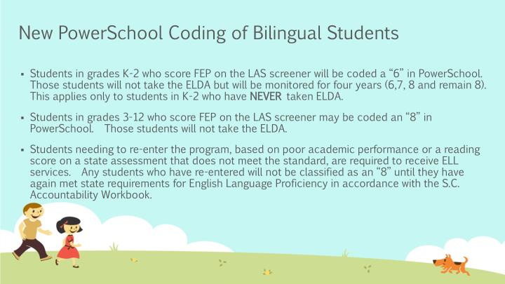New PowerSchool Coding of Bilingual Students