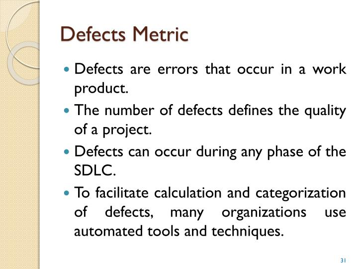 Defects Metric