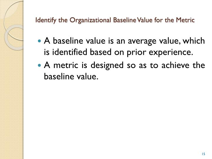 Identify the Organizational Baseline Value for the Metric