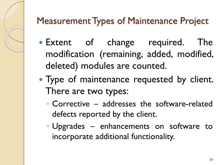 Measurement Types of Maintenance Project