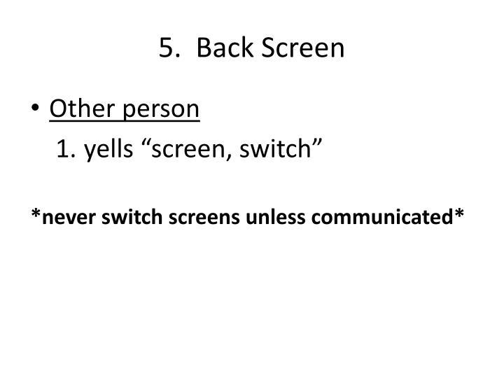 5.  Back Screen
