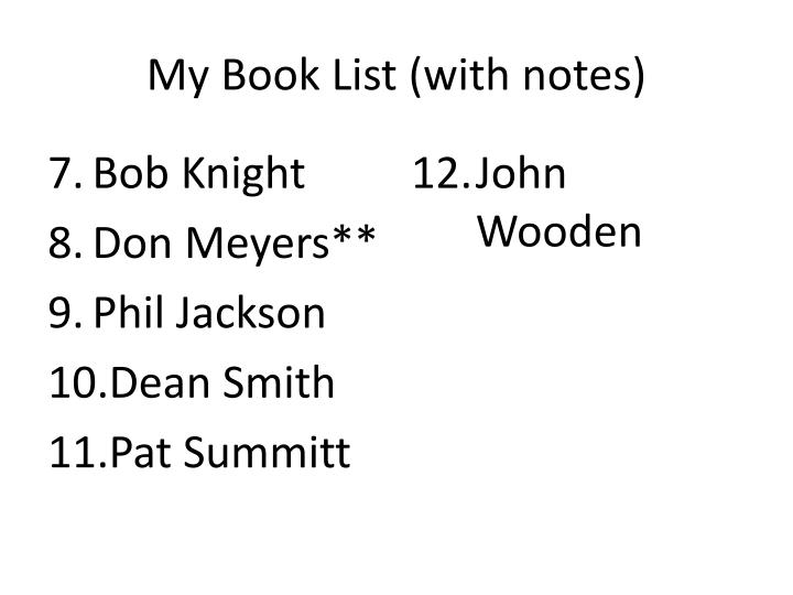My Book List (with notes)