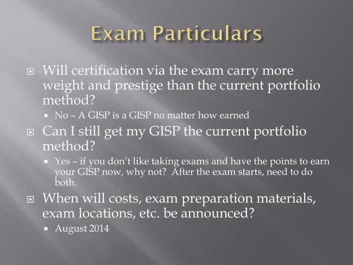 Exam Particulars