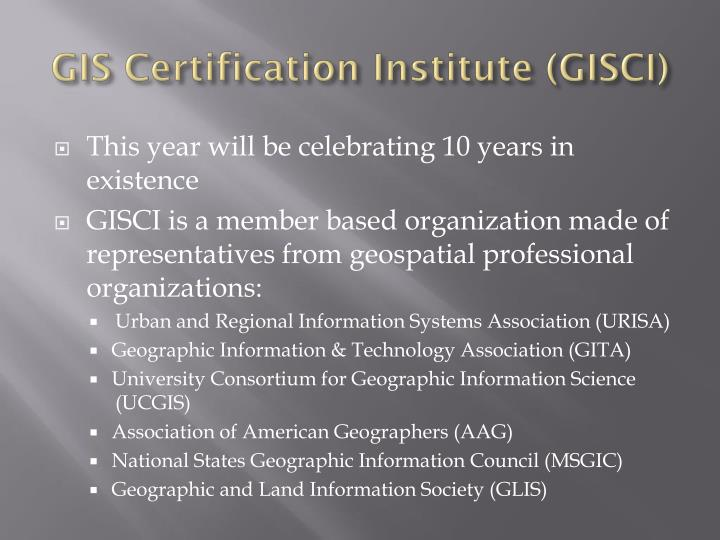 Gis certification institute gisci