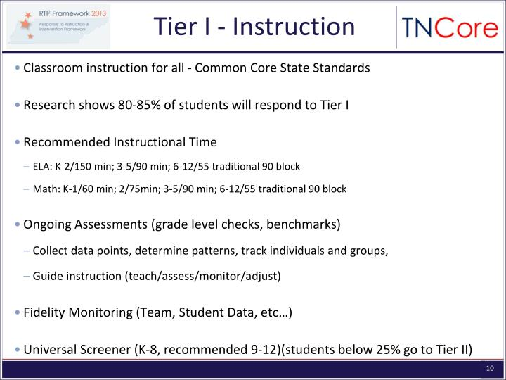 Tier I - Instruction