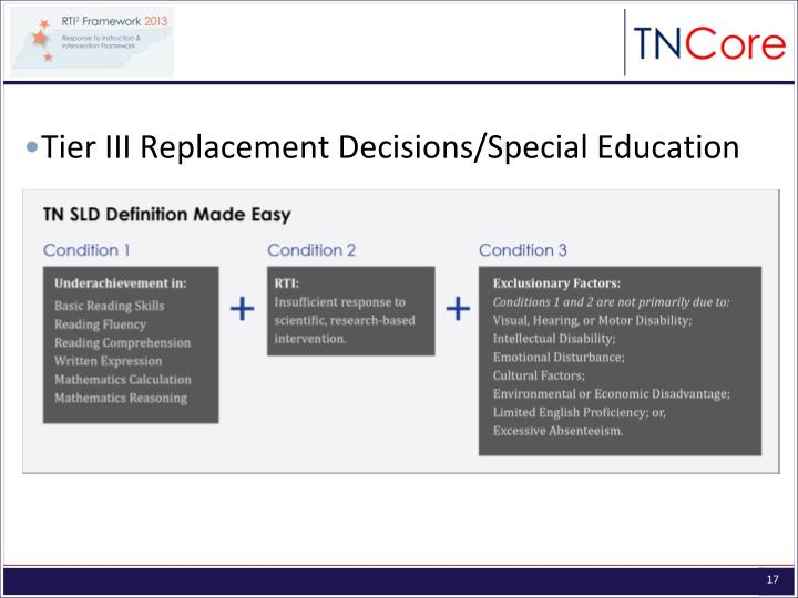 Tier III Replacement Decisions/Special Education