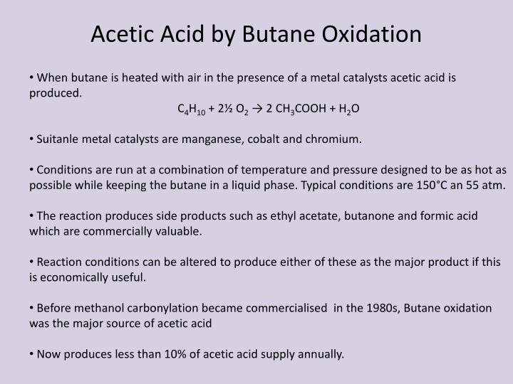 Acetic Acid by Butane Oxidation