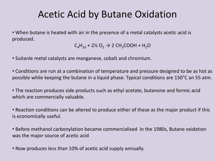 Acetic Acid by Butane Oxidation