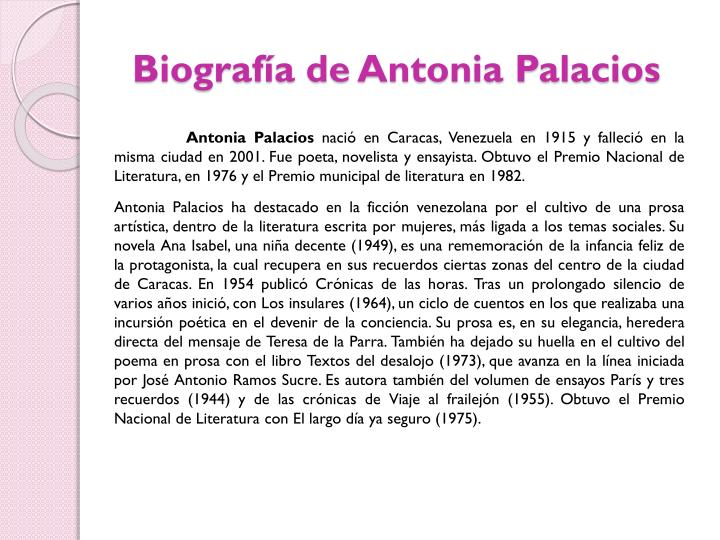 Biografía de Antonia Palacios