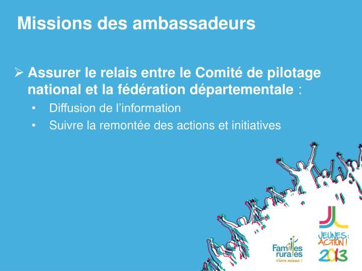 Missions des ambassadeurs