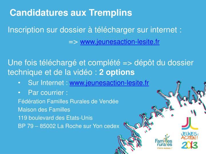 Candidatures aux Tremplins