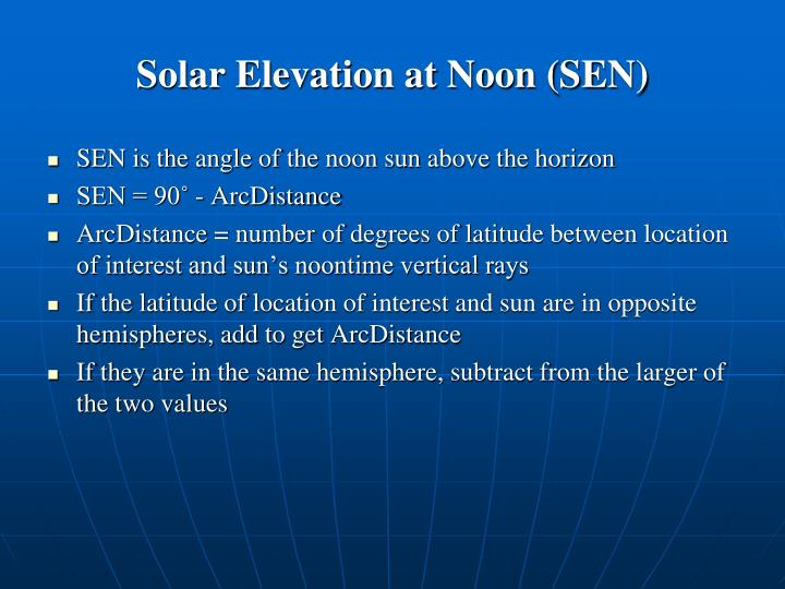 Solar Elevation at Noon (SEN)