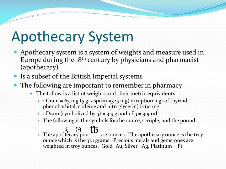 Apothecary System