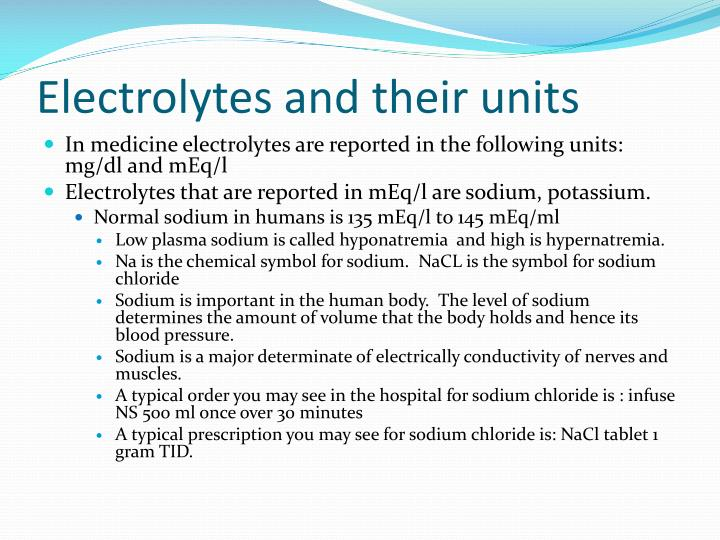 Electrolytes and their units