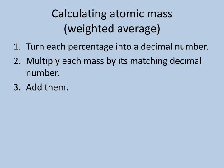 Calculating atomic mass