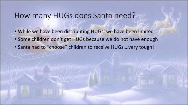 How many HUGs does Santa need?