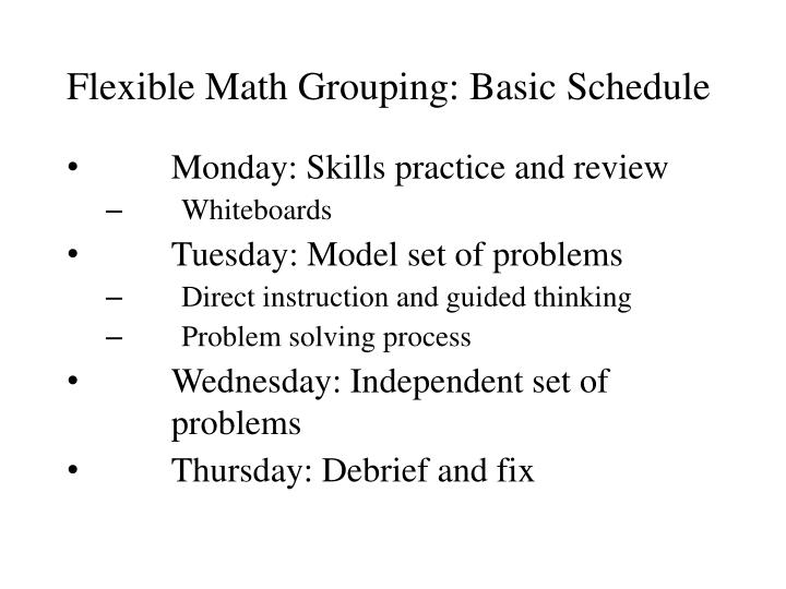 Flexible Math Grouping: Basic Schedule