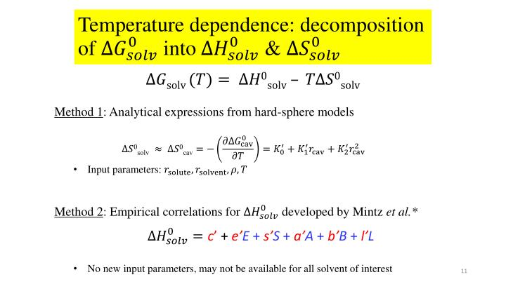 Temperature dependence: decomposition of