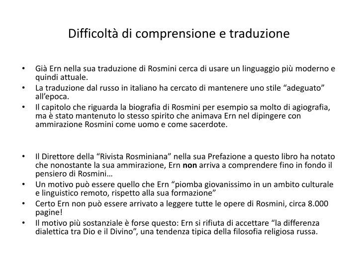Difficoltà di comprensione e traduzione