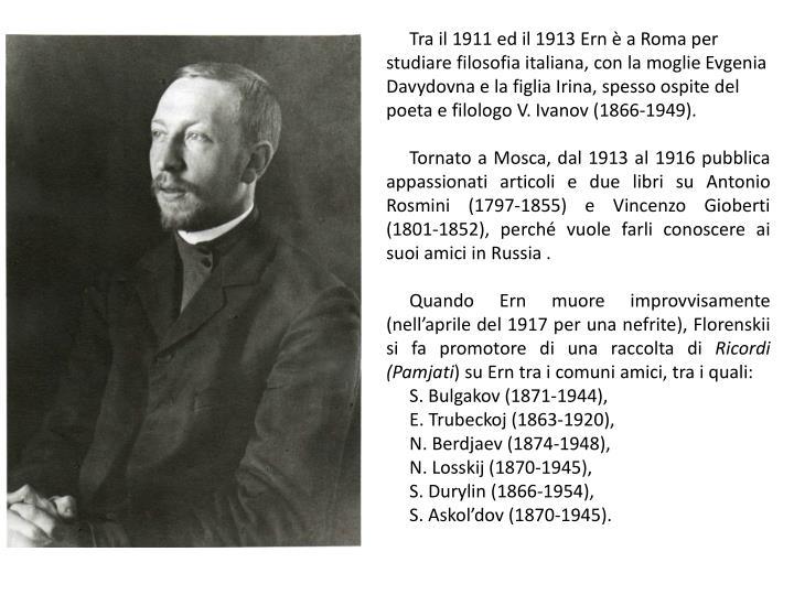 Tra il 1911 ed il 1913