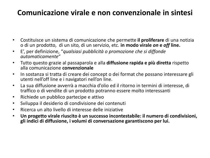 Comunicazione virale e non convenzionale in sintesi
