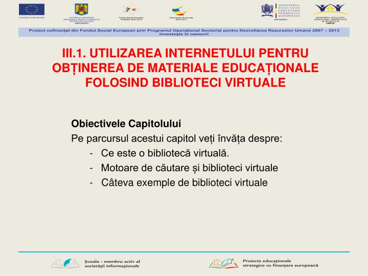 III.1. UTILIZAREA INTERNETULUI PENTRU