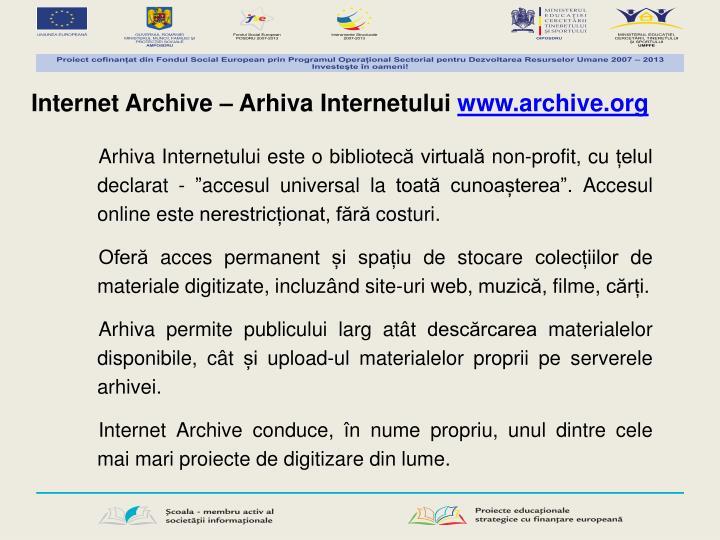 Internet Archive – Arhiva Internetului