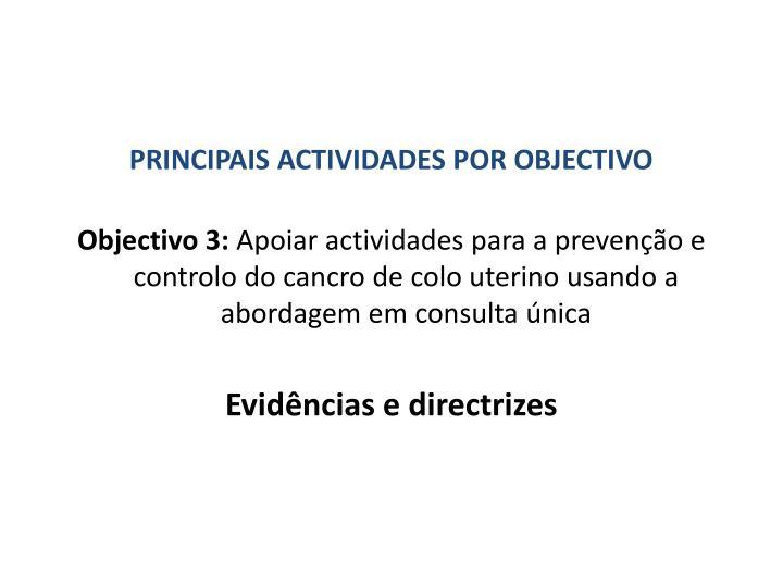 PRINCIPAIS ACTIVIDADES POR OBJECTIVO