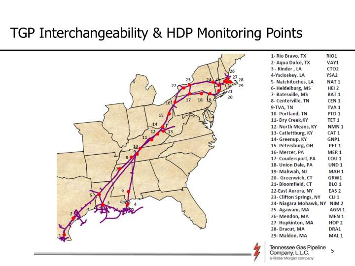TGP Interchangeability & HDP Monitoring Points