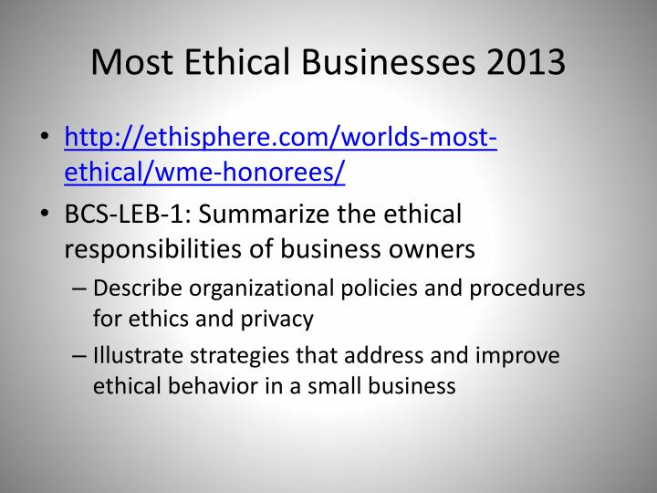 Most Ethical Businesses 2013