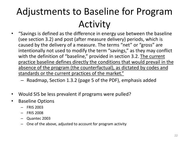 Adjustments to Baseline for Program Activity