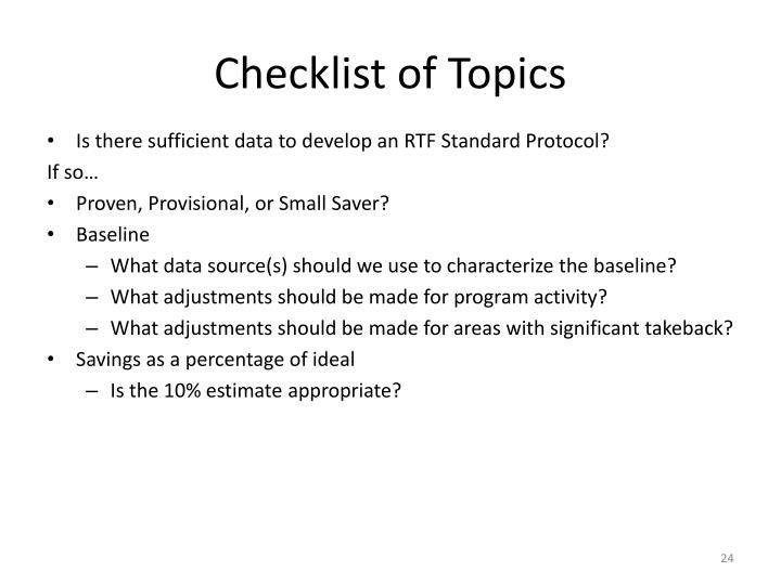 Checklist of Topics
