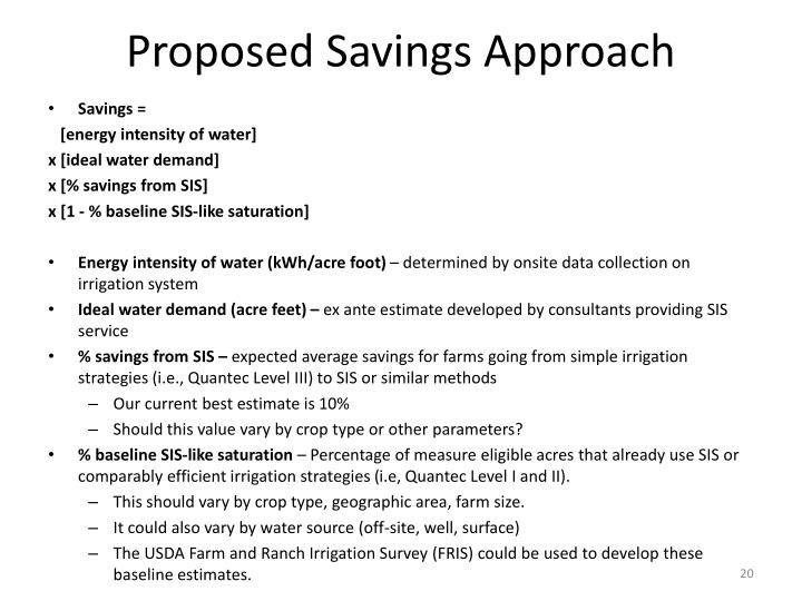 Proposed Savings Approach