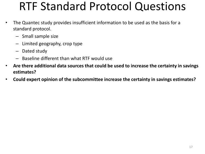 RTF Standard Protocol Questions