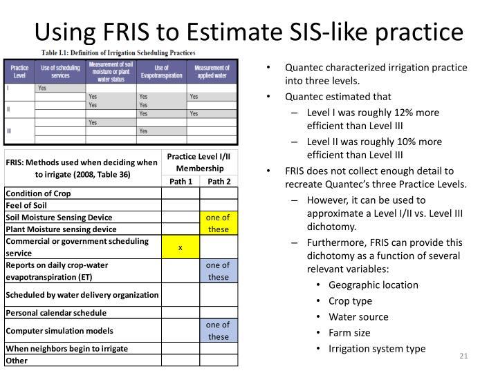 Using FRIS to Estimate SIS-like practice