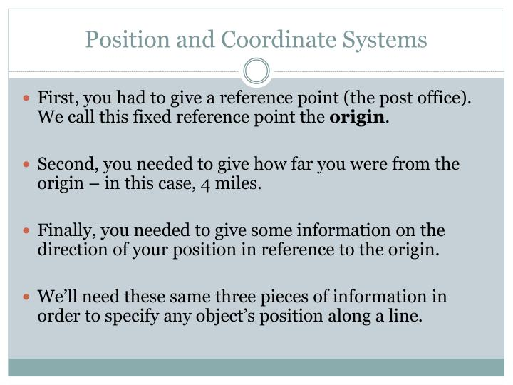 Position and Coordinate Systems