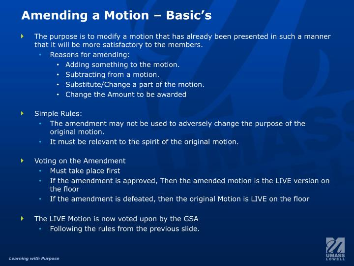 Amending a Motion –