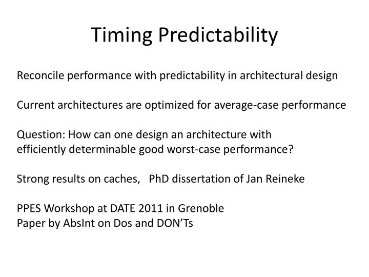 Timing Predictability