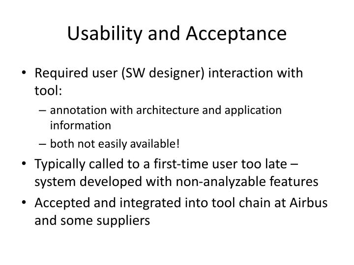 Usability and Acceptance