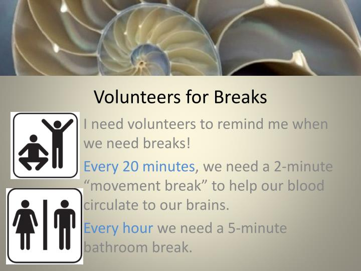 Volunteers for Breaks
