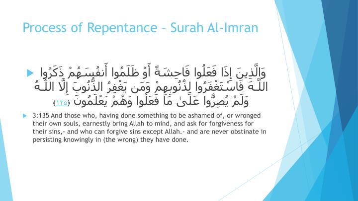 Process of Repentance – Surah Al-Imran