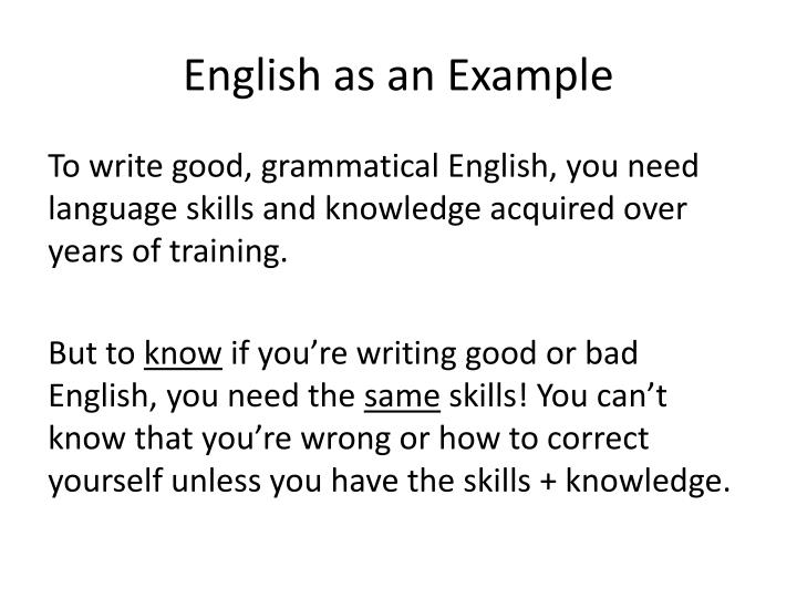 English as an Example