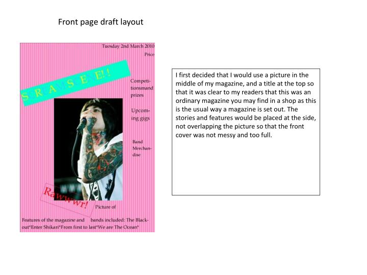 Front page draft layout