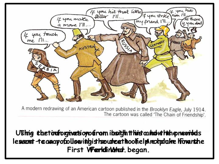 This cartoon gives you an insight into how the world went to war following the death of  Archduke Franz Ferdinand.