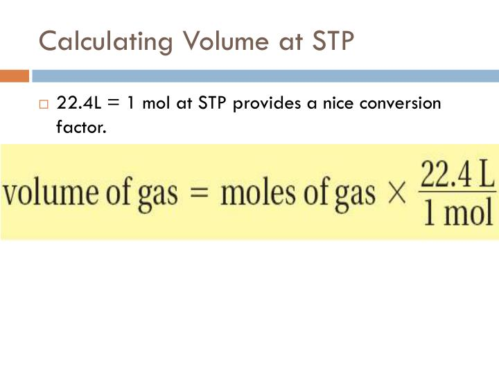Calculating Volume at STP