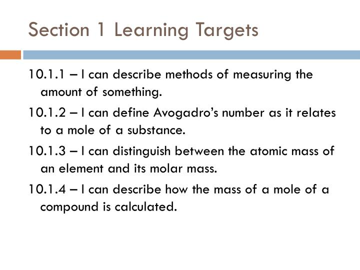 Section 1 Learning Targets