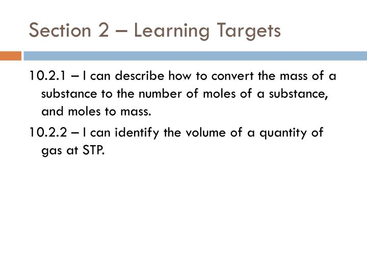 Section 2 – Learning Targets